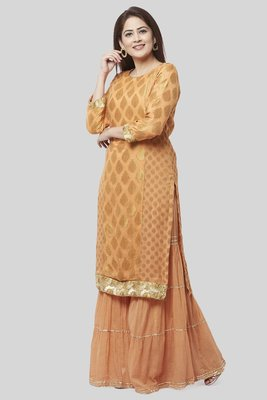 Peachy Orange Banasri Georgette Kurti with Gathered Sharara
