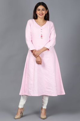 Blush Pink Kali Kurti with Off-White Churidaar