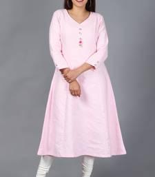 Blush Pink Kali Kurti with Off-White Churidaar