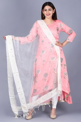 Flamingo Pink Asymmetrical Side Slit Kurti with Churidaar