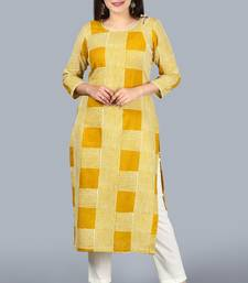 Directional Mustard Yellow Straight Kurti with Off-White Straight Pants