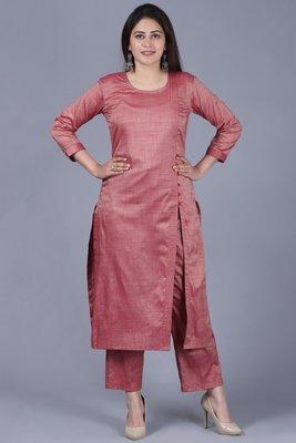 Pinkish Silk Side Slit Kurti with Straight Pants