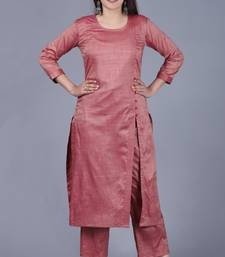 Pinkish Silk Side Slit Kurti with Straight Pants