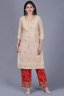 Gold Gotta Straight Kurti with Red Gotta Embroidered Palazzo