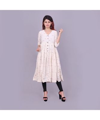 cream Cotton Slub material rich look knee length western kurti