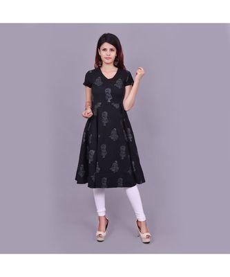 Black Cotton Flex material rich look knee length western kurti