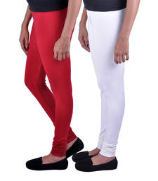 Buy Combo Pack of 2 Cotton , Lycra Leggings- Maroon & Off White legging online