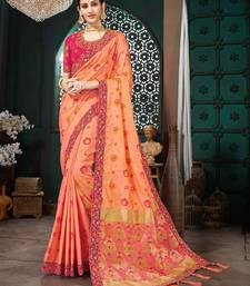 Peach embroidered Banarasi Silk saree with blouse