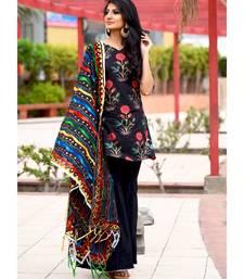 Black Block Printed Mughal Boota With Sharara Pant