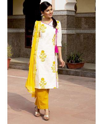 Amber Mughal Butta Handblock Kurta Set With Pale Yellow Dupatta