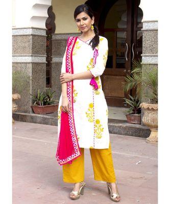 Amber Mughal Butta Handblock Kurta Set With Gulabo Dupatta
