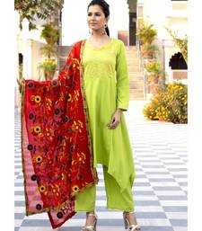 Grass Green High Low gota work Kurta Set With Red Dupatta