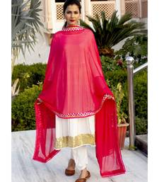 White Gotta Work Anarkali Set With Beautiful Pink Dupatta