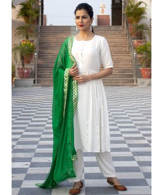 Plain White Side Gota Work Suit With Green Dupatta