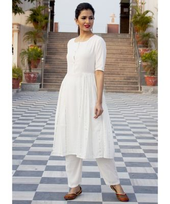 Plain White Side Gota Work Suit Without Dupatta