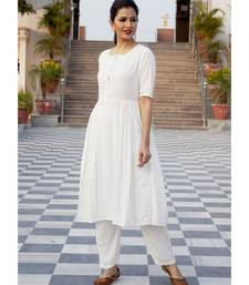 Plain White Side Gota Work Suit Without Dupatta