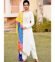 Soft White High Low gota work Kurta Set With Lehariyaan Multi-Coloured Dupatta