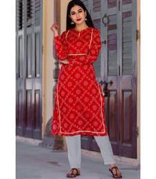 Summer Red Bandhani Kurta Set