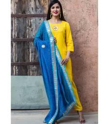 Yellow Honey Kurta Set With Lehariya Dupatta