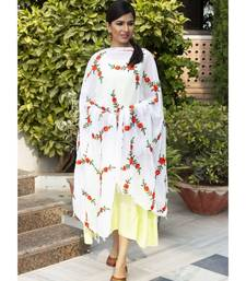 Lime Green Kurta With White Floral Dupatta