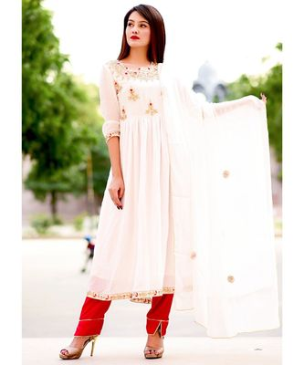 White Zari Gotta Embellished Anarkali Kurta Set