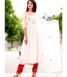 White Zari Gotta Embellished Anarkali Kurta Set