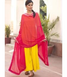 Kesariya Gulab Hot Yellow Gota Dress With Dupatta