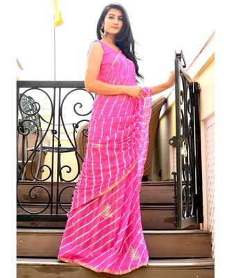 Beautiful pink lahariya saree with blouse