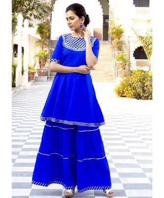 Deep Blue Karishma Short Kurta Skirt Set