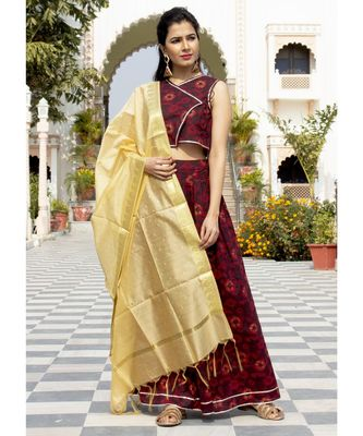 Aasma Dark Rosewood Lehenga Set With Golden Banarasi Dupatta