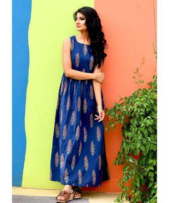 Blue block print maxi dress