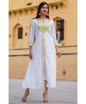 Daisy White & Cream Front Open Maxi Dress