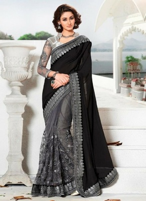 black net embroidery saree with blouse