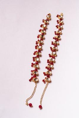Kundan And Red Onyx Anklets