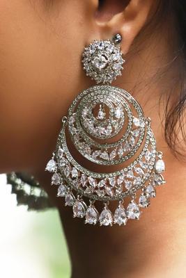 Diamante Silver Chandbaali