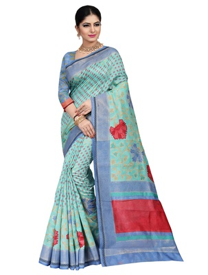 Turquoise woven raw silk saree with blouse