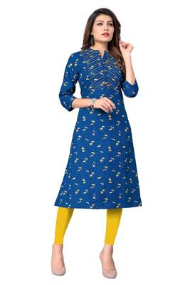 Blue printed cotton kurtis