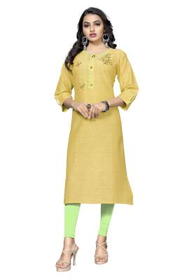 Yellow printed cotton kurtis