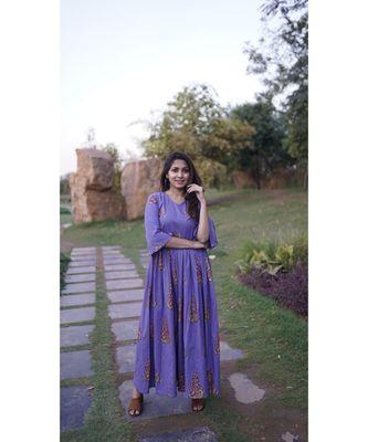 Purple block print dress