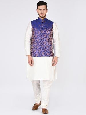 White  Woven Silk Blend Kurta Pajama
