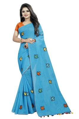 Sky blue embroidered chanderi saree with blouse