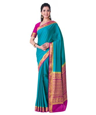 Turquoise woven Crepe saree with blouse