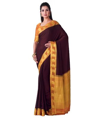Brown woven Crepe saree with blouse