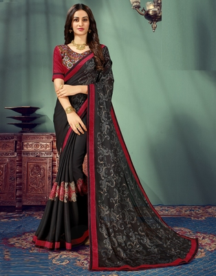 Black embroidered pure chiffon saree with blouse