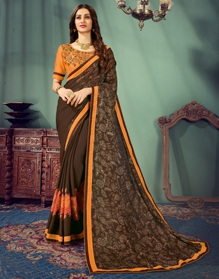 Brown embroidered pure chiffon saree with blouse