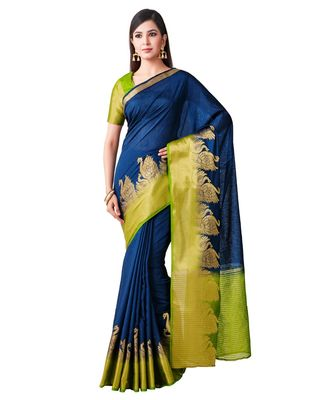 Blue Woven Linen Saree With Blouse