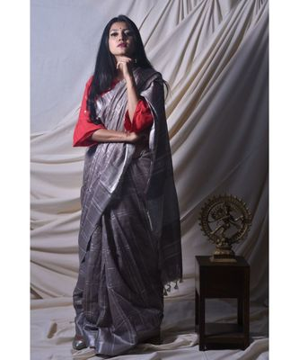 Grey Saree In Khadi Linen