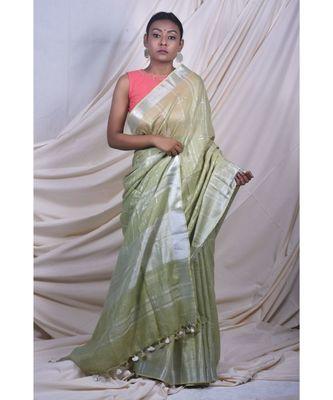 Leafy Green Saree In Khadi Linen