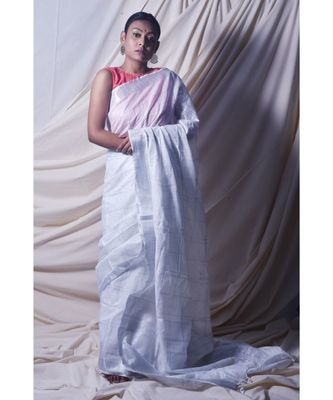 Silver Saree In Khadi Linen