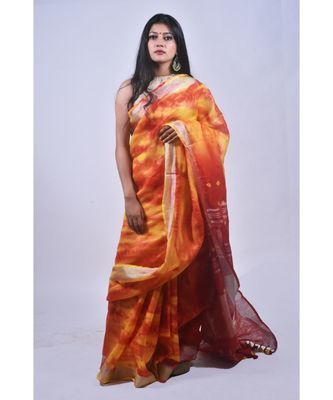 Fire Coloured Saree In Khadi Linen